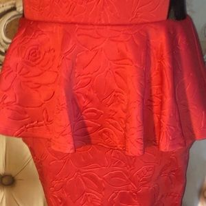 Double Zero Dresses - Coral Embossed Floral Lace Back Peplum Dress